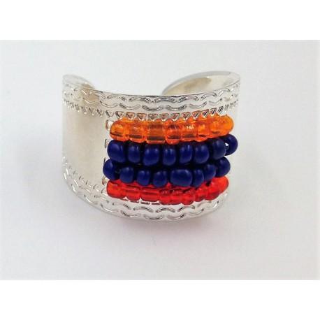 Bague argentée perles drapeau Arménie