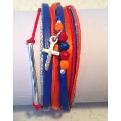 Bbracelet mutiliens cuir ruban perle croix