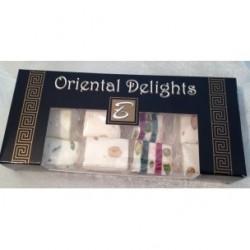box de nougats oriental delightpoids net : 200 gr aux pistaches, noix, sesame, pate d'abricot,