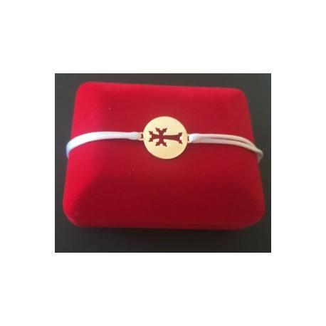 bracelet medaillon  plaque or croix armenienne - circle khatchkar