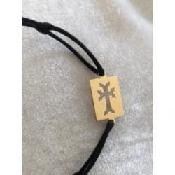 bracelet plaque or croix armenienne - square khatchkar