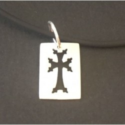 medaille argent croix armenienne hay khatch modern rectangle