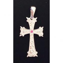 pendentif croix armenienne en argent et rubis- khatchkar largeur 14 mm x hauteur 30 mm (bélière comprise)