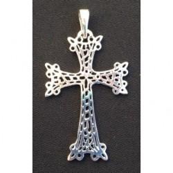 pendentif croix armenienne en argent - khatchkar argent cisele