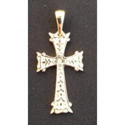 pendentif croix armenienne en or - khatchkar largeur 14 mm x hauteur 30 mm (bélière comprise)