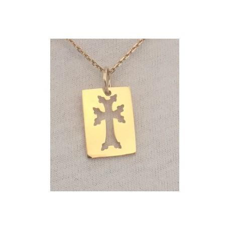 medaille rectangle plaque or croix armenienne khatchkar decoupee